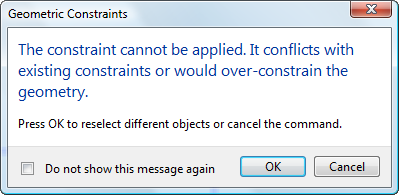 You cant overconstrain an object in AutoCAD