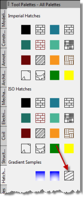 A user-defined hatch pattern on a tool palette