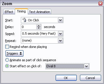 choose Timing to open the Zoom dialog box
