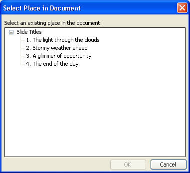 Select a Place in Document dialog box