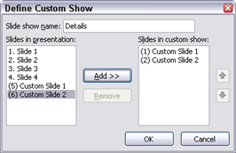 the Define Custom Show dialog box