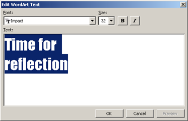 the edit WordArt Text dialog box