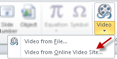Inserting video from a sharing site in PowerPoint 2010