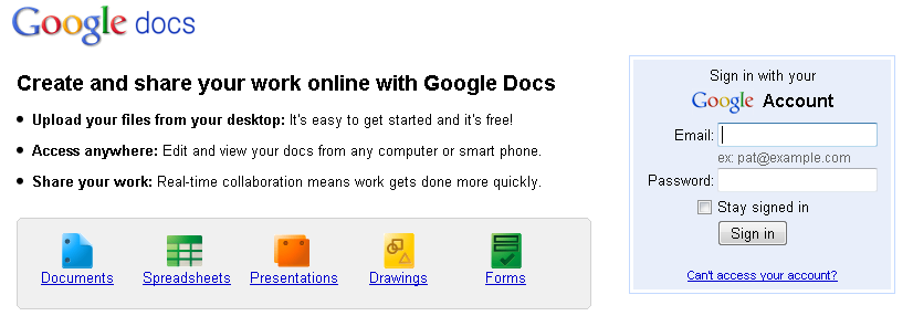 Free powerpoint alternatives google docs for Www google docs sign in