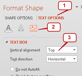 How to top or bottom align slide titles for Text align top