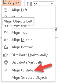 If Align to Slide is checked, the objects are distributed over the height or length of the slide