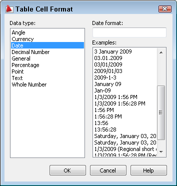 AutoCAD's Table cell formats