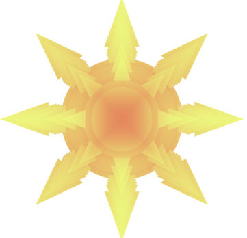 sun AutoShape with a From Center gradient