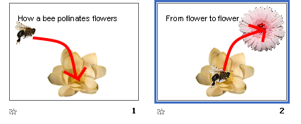 make the bee move from flower to flower