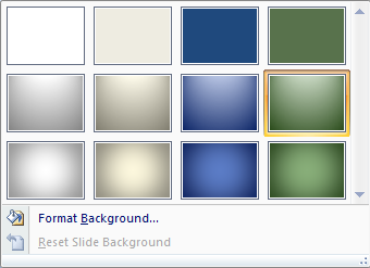 Background feature in PowerPoint 2007