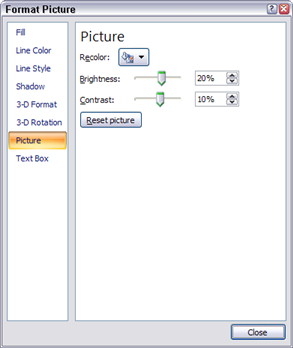 the Format Picture dialog box