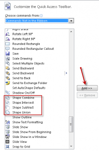 Adding Custom Shapes commands to the Quick Access toolbar