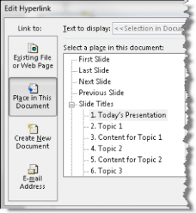 Create a tabbed presentation for longer presentations with lots of topics
